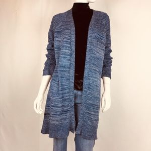 Chico's Long Tunic Sweater Blue With Silver